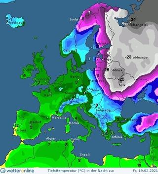 Синоптична карта на 19 лютого
