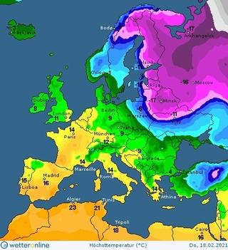 Синоптична карта на 18 лютого