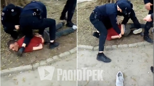 У Рівному затримали чоловіка за неповагу до поліції. Скріншоти з відео. Колаж: Радіо Трек